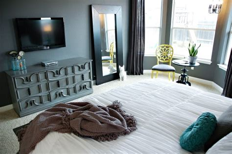 teal and grey bedroom walls gray thrift store dresser yellow white teal bedroom