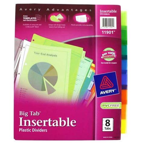 avery template 11901 avery 8 tab multicolor worksaver big tab plastic dividers 11901