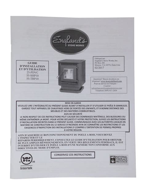 manual warnock hersey parts stove englander fireplace pellet gas list grill