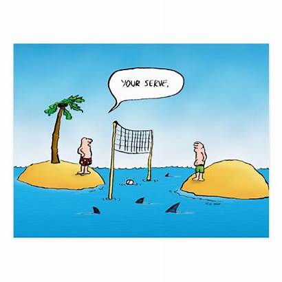 Volleyball Cartoon Funny Shark Postcard Zazzle