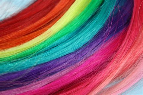 Rainbow Colored Human Hair Extensions Colored Hair Extension