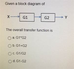 Solved  Given A Block Diagram Of The Overall Transfer Func