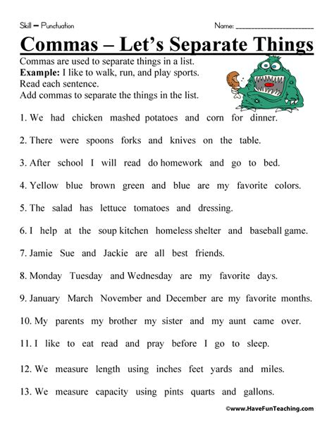 comma worksheet teaching