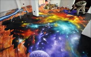 amazing space spray painted on floor i feel the galaxy move my technabob