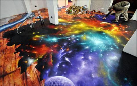 flooring galaxy amazing space scene spray painted on floor i feel the galaxy move under my feet technabob