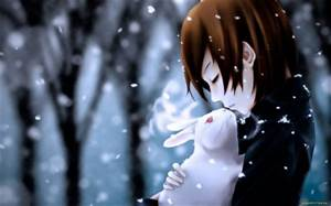 bunnies snow trees forest anime winter 1680x1050 wallpaper ...