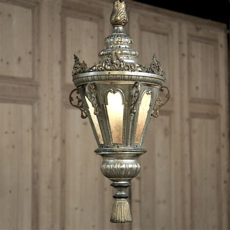 Antique Lantern Chandelier by 19th Century Venetian Silverplated Brass Lantern