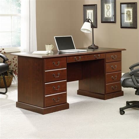 executive desk in cherry with black inlay top 402159