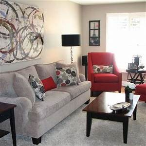 Love the grey and red living room family room ideas for Gray and red living room