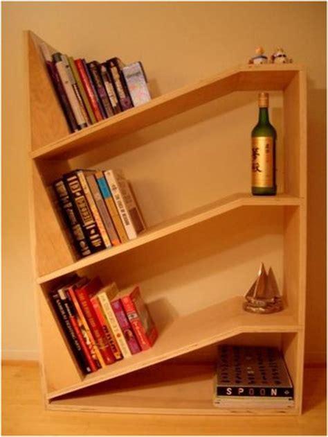 Home Design Angled Bookshelf Design