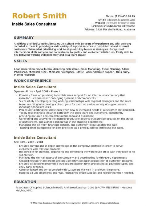 Inside Sales Resume by Inside Sales Consultant Resume Sles Qwikresume