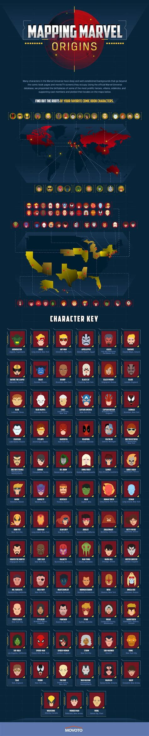 map   major marvel characters hometowns geekologie
