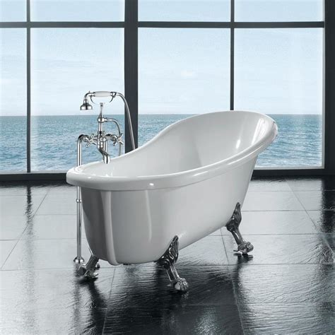 lowes freestanding tub ove decors 66 in gloss white acrylic oval front center