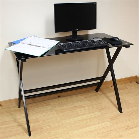 42 wide computer desk hartleys home office study 110cm black glass top computer