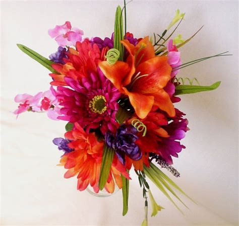 tropical wedding bouquet hot pink orange destination wedding