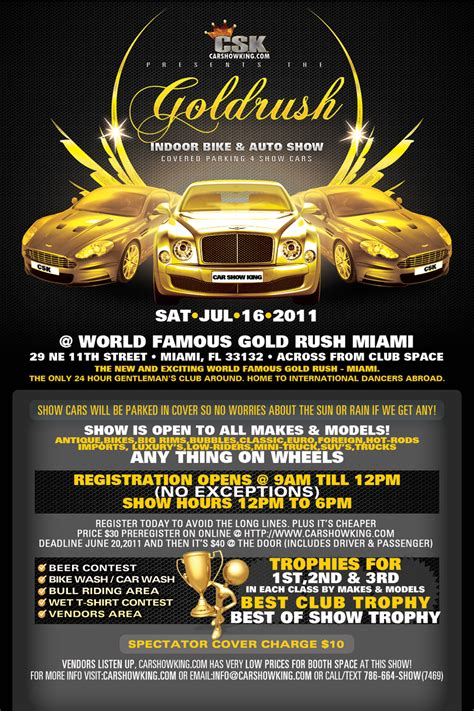 gold rush car show promotional flyer design tight