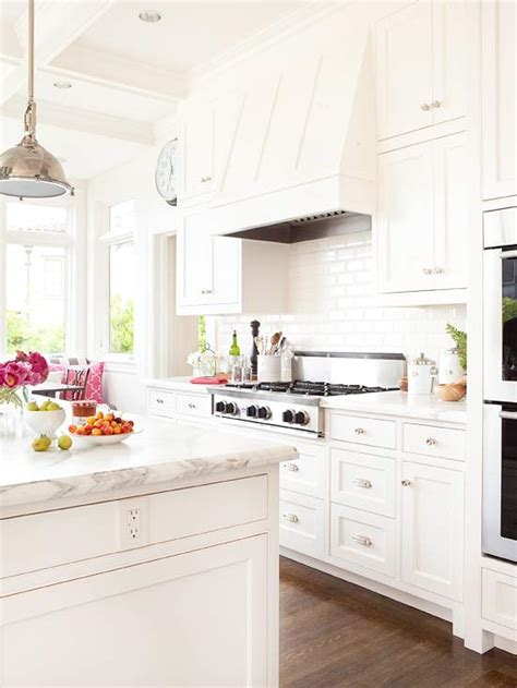 white or white kitchen cabinets all white kitchen transitional kitchen bhg 2111