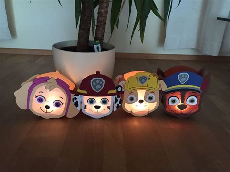 paw patrol laterne sky marshall rubble chase laterne basteln anleitung kinderleichte