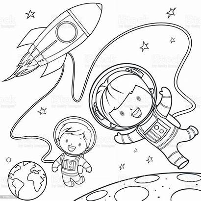 Coloring Space Rocket Travel Pages Vector Clipart