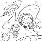 Coloring Space Rocket Travel During Colouring Vector Illustration Clipart Illustrations Clip Astronaut Cartoon Boys sketch template