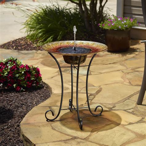 duncraftcom sunflower glass solar birdbath