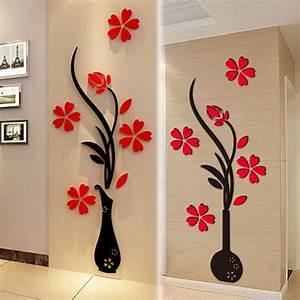 3D Vase Flower DIY Mirror Wall Decals Stickers Art Home