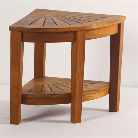 spa teak corner shower stool  shelf