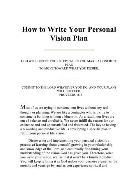 writing  personal vision plan  guestdeec