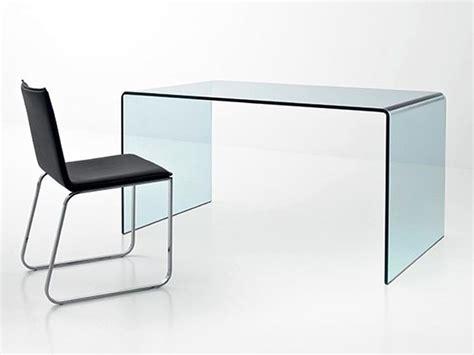 Bureau Design En Verre Courbé Transparent, D'un Seul