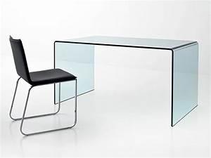 Bureau En Verre Design : bureau design en verre courb transparent d 39 un seul tenant meubles bois massif ~ Teatrodelosmanantiales.com Idées de Décoration