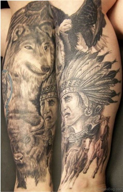 marvelous wolf tattoos  leg