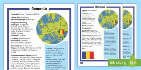 * New * Romania Fact File Englishromanian  Inclusion, Romanian, European
