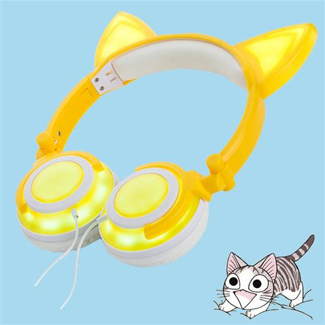 headphones with light up cat ears wholesale 2017 china new products rechargeable wired