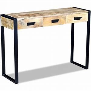 Console Bois Massif : acheter vidaxl table console avec 3 tiroirs bois de manguier massif 110 x 35 78 cm pas cher ~ Teatrodelosmanantiales.com Idées de Décoration