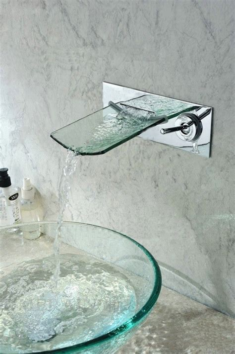 wall mounted waterfall faucets for vessel sinks 1000 ideas about waterfall faucet on vessel
