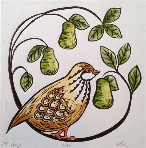 Many of our pear trees are cold hardy to zone 3a. Partridge in a Pear Tree Christmas card. Lino print coloured with gouache and acrylic ink ...