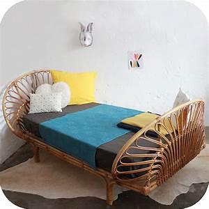 Lit En Rotin : mobilier vintage lit rotin enfant ann es 50 ann es 60 atelier du petit parc ~ Teatrodelosmanantiales.com Idées de Décoration