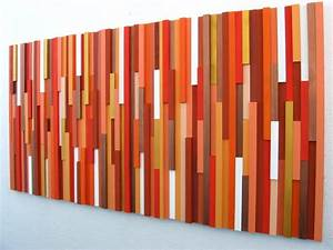 Orange wall art wood sculpture modern decor