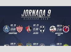 Fechas y horarios de la jornada 9 del Clausura 2018 de la