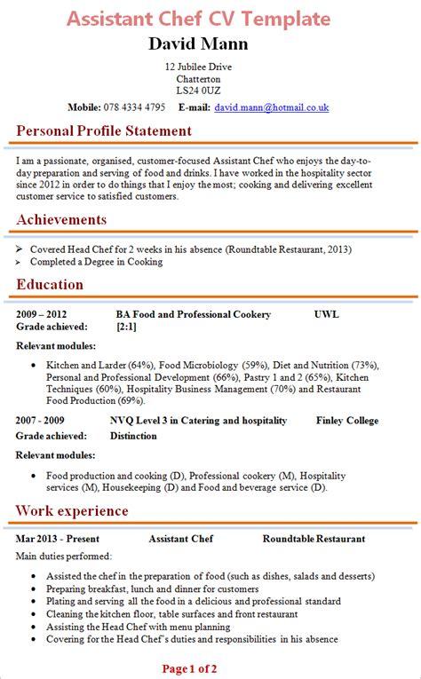 assistant chef cv