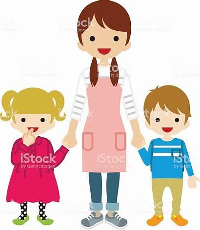 Nanny Clipart Children Vector Sitting Babysitting Illustration