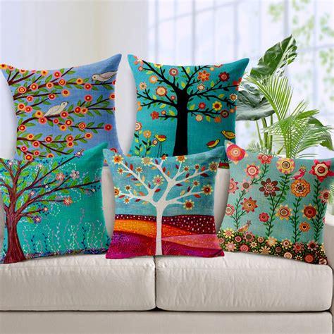 encontrar mas fundas de cojines informacion acerca de coloridas pastorales arboles pintura al