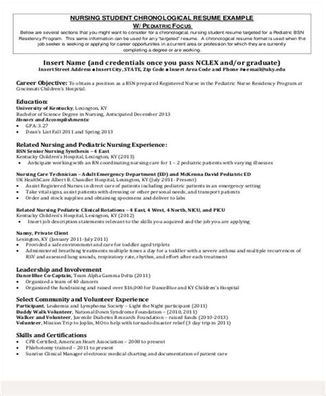 Exle Resumes For Pediatric by Sle Student Resume 8 Exles In Word Pdf