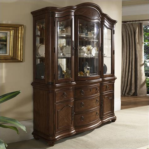 melbourne traditional china display case  warm brown