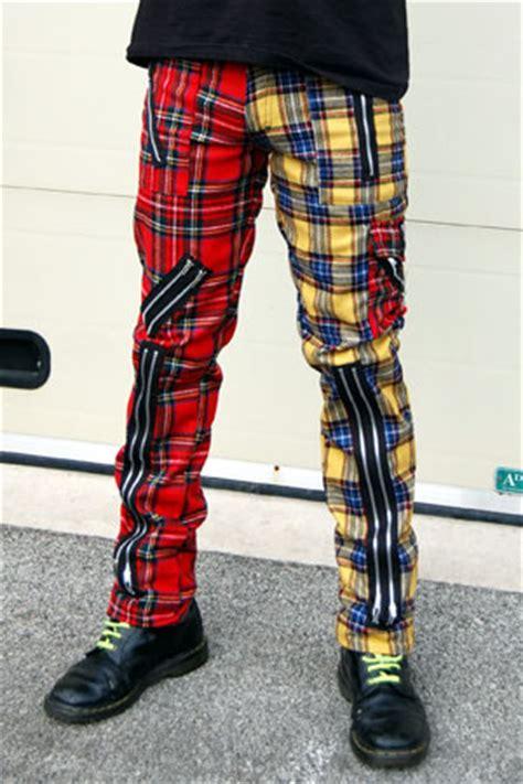 original  zip bondage pants wool blend  tiger  london split leg redyellow plaid sz