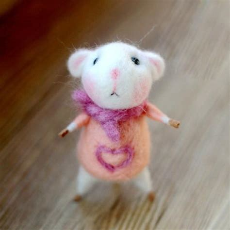 needle felted felting project animals cute mouse pink