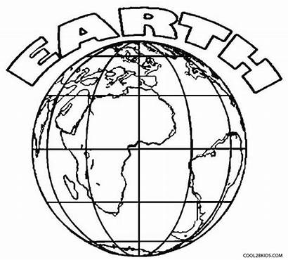 Earth Coloring Pages Drawing Printable Layers Globe