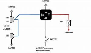 Car Spotlight Wiring Diagram With 12 Volt Supply And Hi Beam Wire   Wiring Diagram