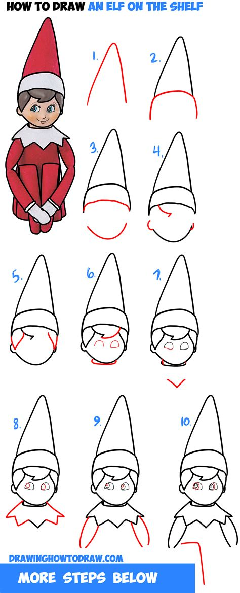 christmas pictures step by step how to draw the on the shelf easy step by step drawing tutorial for beginners how