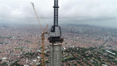 Çalışmaların sona yaklaştığı çamlıca kulesi'nde rekor kırıldı. Çamlıca Kulesi Eyfel'i Geçti
